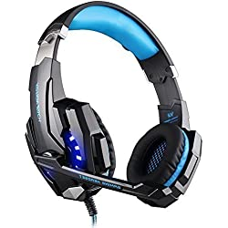 DIZA100 Kotion Each G9000 Over-Ear 3.5mm Wired Gaming Headphones - Black and Blue
