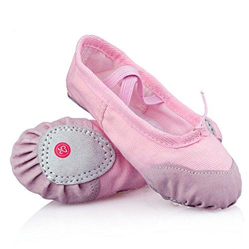 LONSOEN Ballet Slipper Shoes Split-Sole Dance Flat for Girls (Toddler/Little Kid/Big Kid), Pink, 10 M US Toddler (Pink Ballet Shoes compare prices)