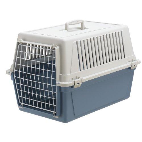 Ferplast-73009799ELW1-Transportbox-ATLAS-30-EL-fr-Katzen-und-Hunde-Mae-60-x-40-x-38-cm-blau
