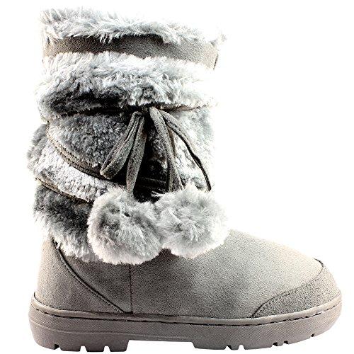 Womens Pom Pom Completamente allineato pelliccia invernale impermeabile Snow Boots - Grigio - 4