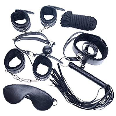 CCBunny Black Bondage Set Kit - Fetish Whip Rope Blindfold Wrist Cuffs Collar Ball gag