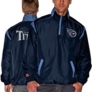NFL Tennessee Titans Mens Red Zone 1 4 Zip Jacket, Navy by Football Fanatics