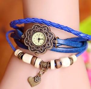 Towallmark 1PC Blue Fashion Weave Heart Pendant Leather Bracelet Wrist Watch