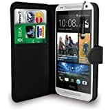 HTC One Mini - Leather Wallet Case Cover Pouch + Screen Protector & Polishing Cloth ( Wallet Black )