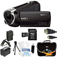 Sony HDR-CX240 HDR-CX240/B CX240 Full HD 60p Camcorder - BlACK Ultimate Bundle with 32GB High Speed Micro SD Card, Spare High Capacity Battery, AC/DC Charger, Table top Tripod, Padded Case, Micro HDMI Cable, LCD Screen Protectors, and Lens Cleaning Kit fr