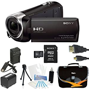 Sony HDR-CX240 HDR-CX240/B CX240 Full HD 60p Camcorder - BlACK Ultimate Bundle with 32GB High Speed Micro SD Card, Spare High Capacity Battery, AC/DC Charger, Table top Tripod, Padded Case, Micro HDMI Cable, LCD Screen Protectors, and Lens Cleaning Kit
