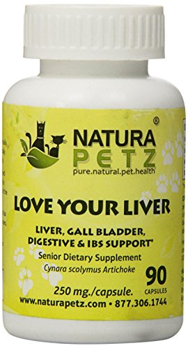 Natura Petz Love Your Liver, Liver Detox and Support for Senior Pets, Gall Bladder, Digestive and Irritable Bowel Syndrome Support for Senior Pets, 90 Capsules, 250mg Per Capsule