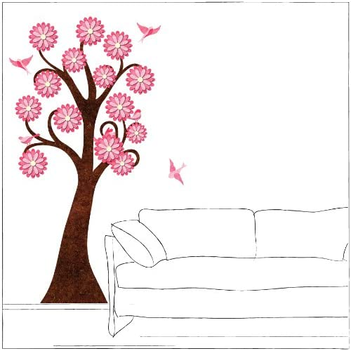 6 foot Pink Flowering Tree Wall Sticker and Birds for Girls Room   Peel & Stick and Removable