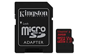 Kingston Canvas React 32GB microSDHC Class 10 microSD Memory Card UHS-I 100MB/s R Flash Memory High Speed microSD Card with Adapter (SDCR/32GB) (Tamaño: 32GB)