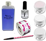 Acryl Set 1 - 100ml Liquid je 20g Klar - Weiß - Pink Puder 1xPrimer in Studio Qualität RM Beautynails