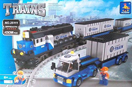 Ausini Building Blocks Locomotive Train Railroad Conveyance #25111 1008pcs Compatible with Lego Sluban walthers model train 90 inch length of the train locomotive wheel suite 33 cm 933 933
