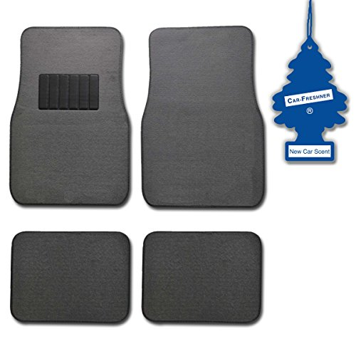 Bdk Light Gray 4 Pc Universal Carpet Car Mats W/ Heel Pad + Little Tree New Car front-250590