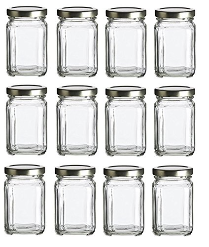 Nakpunar 12 pcs, 6 oz Square Glass Jars for Jam, Honey, Wedding Favors, Shower Favors, Baby Foods, DIY Magnetic Spice Jars