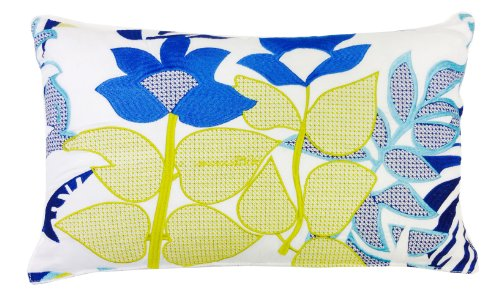 Trina Turk Trellis Turquoise Flower Embroidered Decorative Pillow, 20 By 12-Inch, Yellow/Blue front-953771