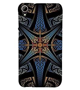 Printvisa Dark Multicolour Pattern Back Case Cover for HTC Desire 828