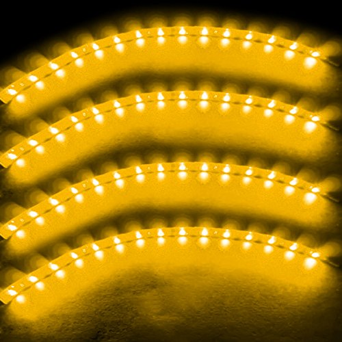 Zento Deals 30cm Yellow LED Car Flexible Waterproof Light Strip (Pack of 4) (Car Led Lights Orange compare prices)