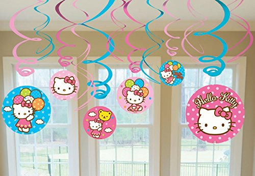 Hello Kitty Party Foil Hanging Swirl Decorations / Spiral Ornaments (12 PCS)- Party Supply, Party Decorations