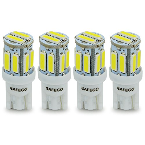 Safego T10 LED White 10-SMD 7020 T10 W5W LED Bulbs Super Bright 194 168 2825 Wedge Replacement Lights Side Lamps Interior Light