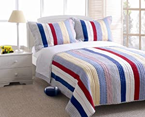 Greenland Home Prairie Stripe Quilt Set, Full/Queen