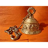Niliyashoppe Brass Hindu Lord Ganesha Temple Bell With Long Chain 26 Inches, Metal ( Golden, 6 Inch )