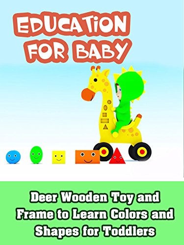 Deer Wooden Toy and Frame to Learn Colors and Shapes for Toddlers