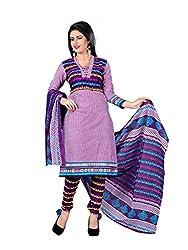 Fashionx Purple cotton printed unstitched dress material