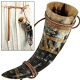 Snakeskin Burnt Medieval Viking Norman Leather String Holder Beer Drinking Horn