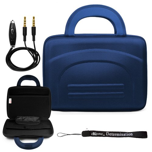 Blue Durable Premium Travel Hard Nylon Carrying Case For Motorola Zoom Tablet (Compatible With All Models) + Includes A Ebigvalue (Tm) Determination Hand Strap Key Chain + Includes A 3Ft Aux (Auxiliary) Connector Cable With Mic And Mute Button front-253482