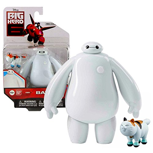 """Bandai Year 2015 Disney """"Big Hero 6"""" Movie Series 4-1/2 Inch Tall Action Figure - White BAYMAX """"The Healthcare Companion"""" with Mochi the Cat"""