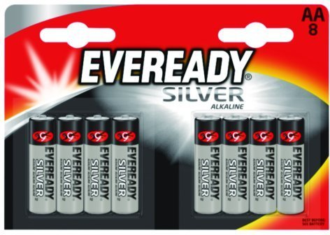 Energizer AA/R03 Everyday Silver Alakaline Battery (Pack of 8)