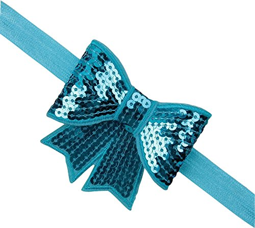 PinkXenia Aqua blue sparkly/glitter sequin bowknot elastic Newborn Soft Headband