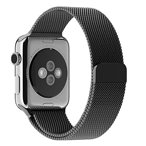 HC electronic Apple Watch Band, HCE Black Milanese Magnet Loop, 42mm Stainless Steel Bracelet Strap Sport Bands for iWatch All Models, Magnet Lock No Buckle Needed - Black