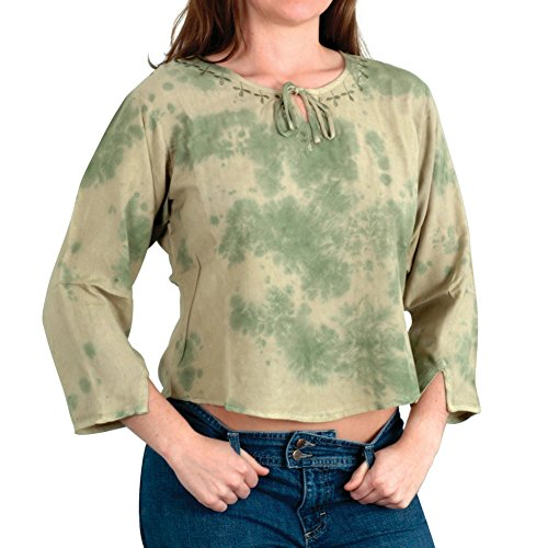 Green Tye Dye Embroidered Juniors Long Sleeve Hippie Blouse (Green Tye Dye Long Sleeve Shirt compare prices)