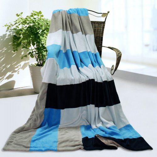 Onitiva - [Love Is Blue] Soft Coral Fleece Patchwork Throw Blanket (59 By 78.7 Inches) front-917498