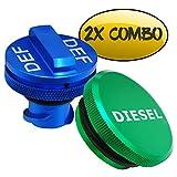 Diesel Fuel Cap for Dodge, BORUD Magnetic Ram Diesel Billet Aluminum Fuel Cap and DEF Cap Combo for 2013-2018 Dodge Ram Truck 1500 2500 3500 with New Easy Grip Design