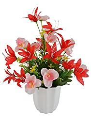 Thefancymart Artificial flowers Lilly with Butterfly (size 12 inchs/ 30 cms) with white round pot -1002
