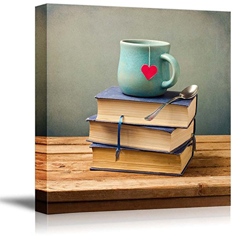 "Wall26 - Canvas Prints Wall Art - Old Vintage Books and Cup with Heart Shape on Wooden Table | Modern Wall Decor/ Home Decoration Stretched Gallery Canvas Wrap Giclee Print. Ready to Hang - 16"" x 16"""