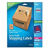 Avery Internet Shipping Labels, Ink Jet and Laser, Brown Kraft, 50 Labels (5783) ~ Avery