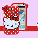Go Crazzy Hello Kitty Soft Silicone Snap On Case For Samsung Galaxy Note 2 N7100 (RED)