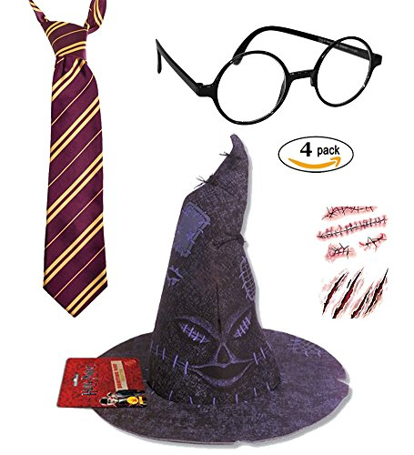 Harry Potter Deluxe Costume Accessory- Tie, Glasses, Scar and Sorting Hat 4 Pack