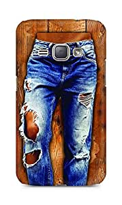 Amez designer printed 3d premium high quality back case cover for Samsung Galaxy J1 (2016 EDITION) (Girl in stylish torn Jeans on wooden Texture)