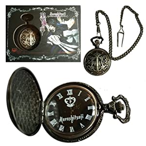 Kuroshitsuji Black Butler Sebastian anime Pocket Watch Black