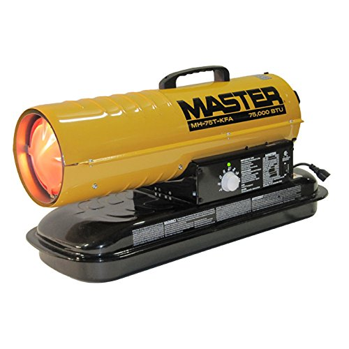 Master MH-75T-KFA Kerosene Forced Air Heater with Thermostat, 75,000 BTU (Sq One Mall Hours)