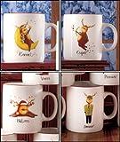 Reindeer Christmas Holiday Mug Set (Comet/Cupid/Blitzen/Donner)
