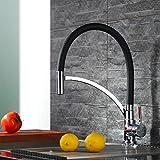 Homelody® Schwarz Spültischarmatur Spiralfederarmatur für die Profiküche Wasserhahn KüchenarmaturMischbatterie Wasserkran Armatur hoher Auslauf Küchenarmatur für Küchen