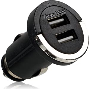 Wicked Chili KFZ DUAL USB-Adapter für Apple iPhone 5 / iPad 4 / iPad mini / iPod Touch 5 (Lightning kompatibel, 2 x USB / max 2.100mA, 12V / 24V, schwarz / chrom)