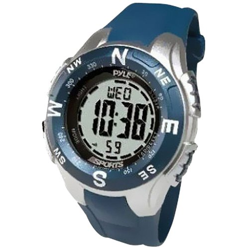 Pyle Sports PSWTM34BL Track Watch with Digital Compass, Chronograph, Pacer, Countdown Timer (Blue)