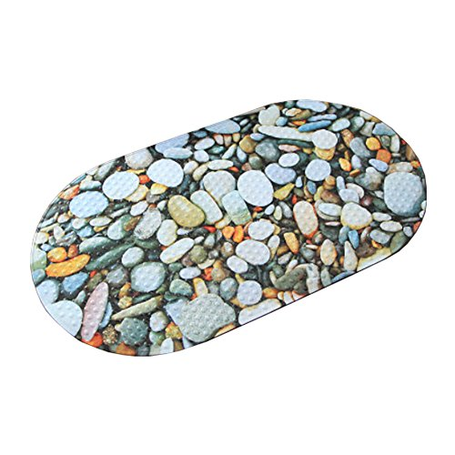 Lovely Colorful Stones PVC Non-Slip Bath Mat with Suction Cups