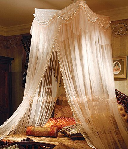 Light Yellow Big Mosquito Net Canopy For Holiday & Home. Full Coverage. Up To Kingsize. Non Skin Irritation. No Drilling No Screwing front-857996