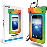 FRiEQ Floating Waterproof Case Bag for Outdoor Activities - Perfect for Boating / Kayaking / Rafting / Swimming - Waterproof bag / Waterproof Life Pouch / Dry Bag for Apple iPhone 6, 5S, 5C, 5; Galaxy S6, S4, S3; HTC One X, Galaxy Note 3, Note 2; LG G2 - Protects your Cell Phone or MP3 Player from Water, Sand, Dust and Dirt - IPX8 Certified to 100 Feet (Rainbow)